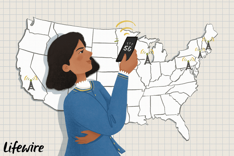 Illustration of a person looking at a 5G screen on a smartphone in front of a map of the US