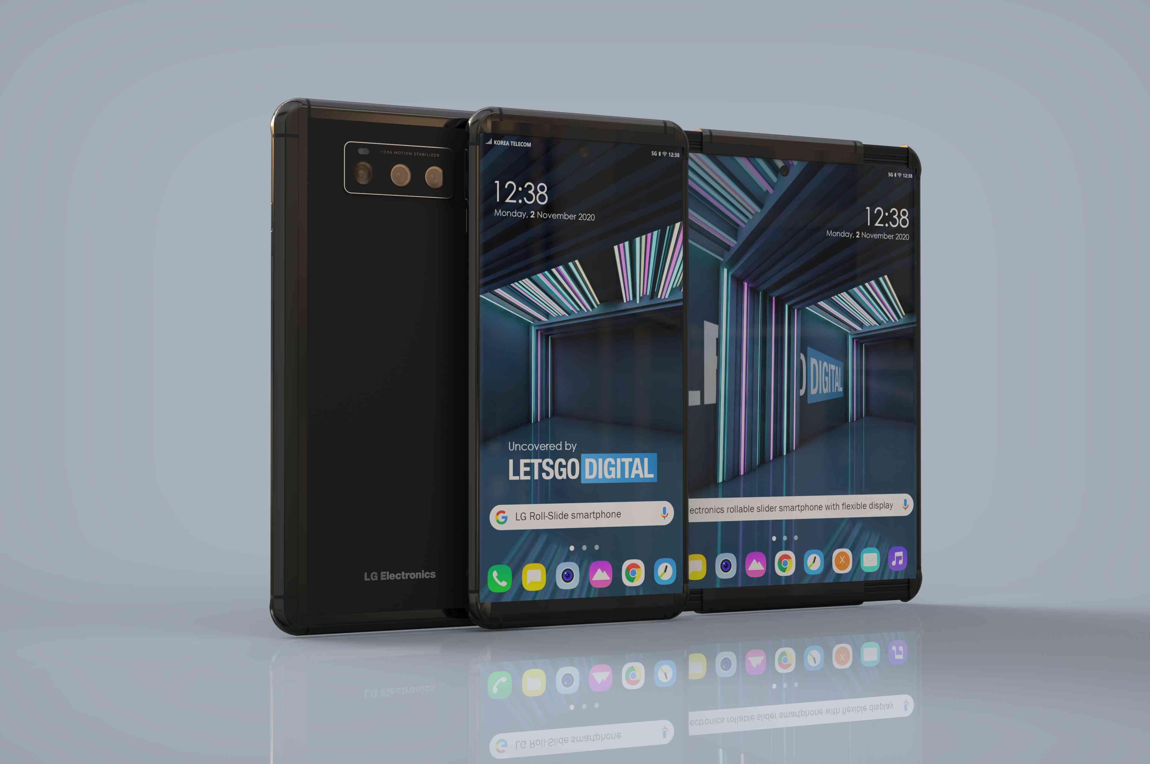 LG Slide Out Phone 3D Rendering