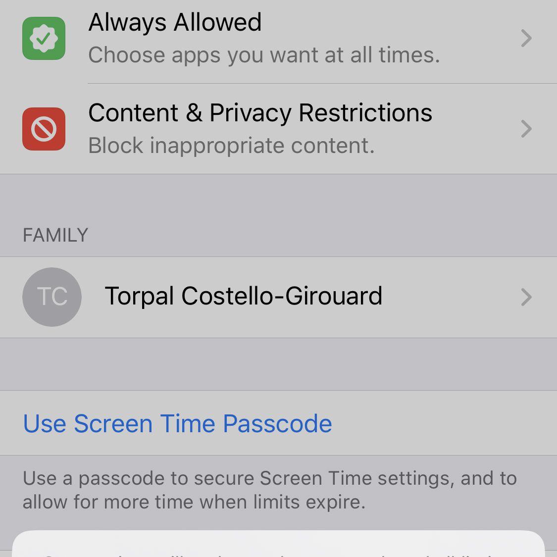 Screenshot of the menu confirming turning off Screen Time