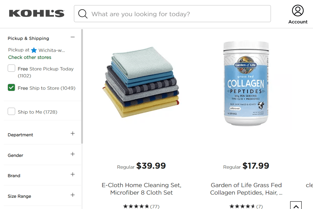Kohl's free ship to store filter selected