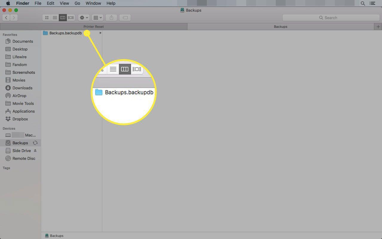 The Backups folder in macOS