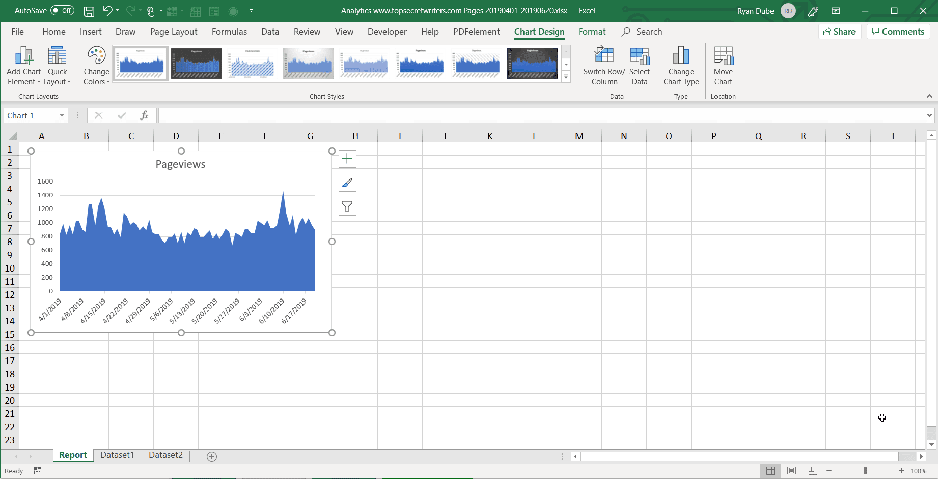 Inserting charts into a report