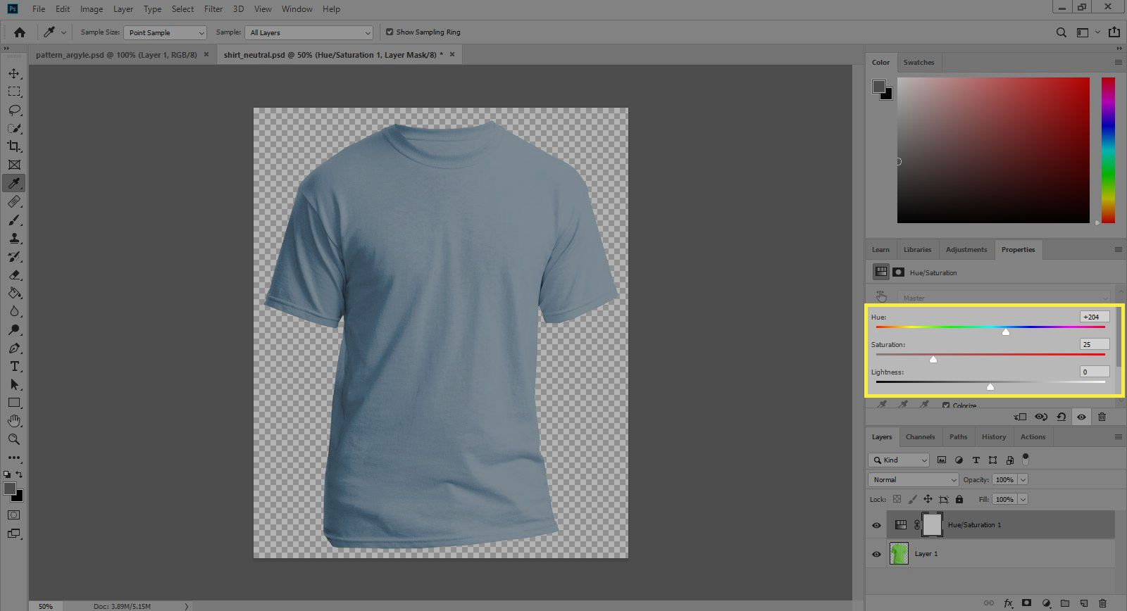 A screenshot of Photoshop's Adjustments window with the Hue, Saturation, and Lightness options highlighted