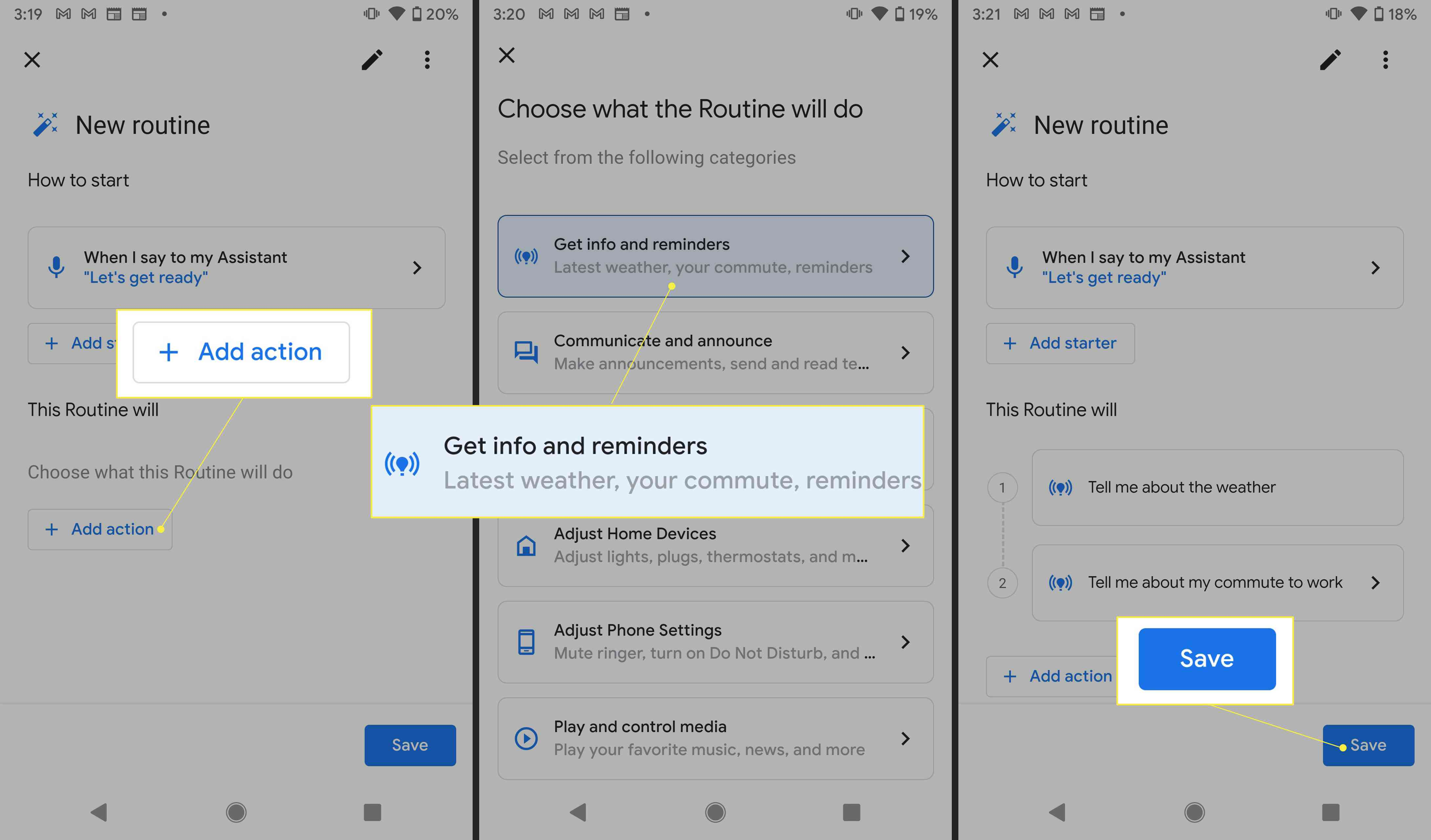 Google Assistant Routine settings with