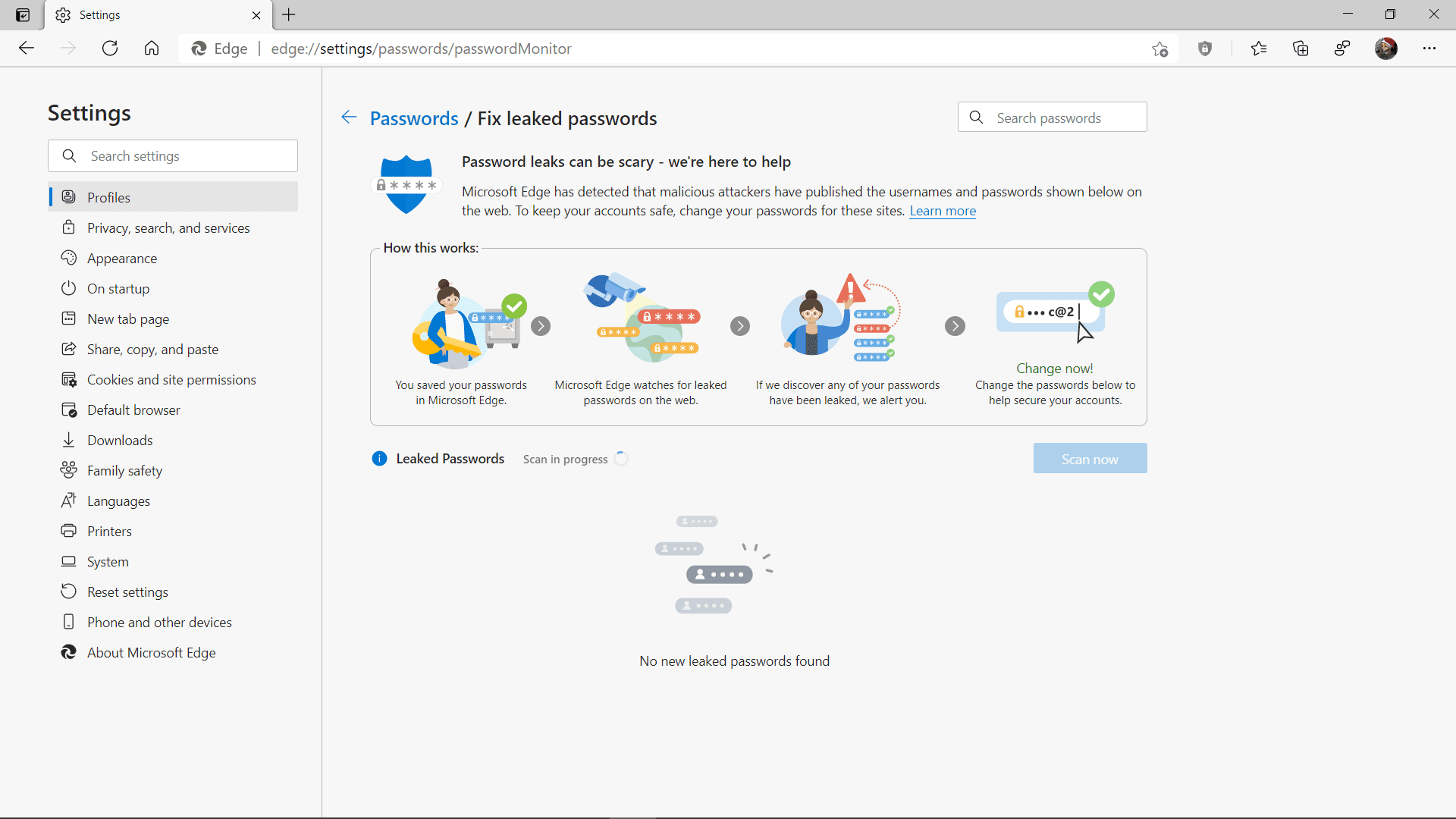 Running a password monitor scan in Microsoft Edge.