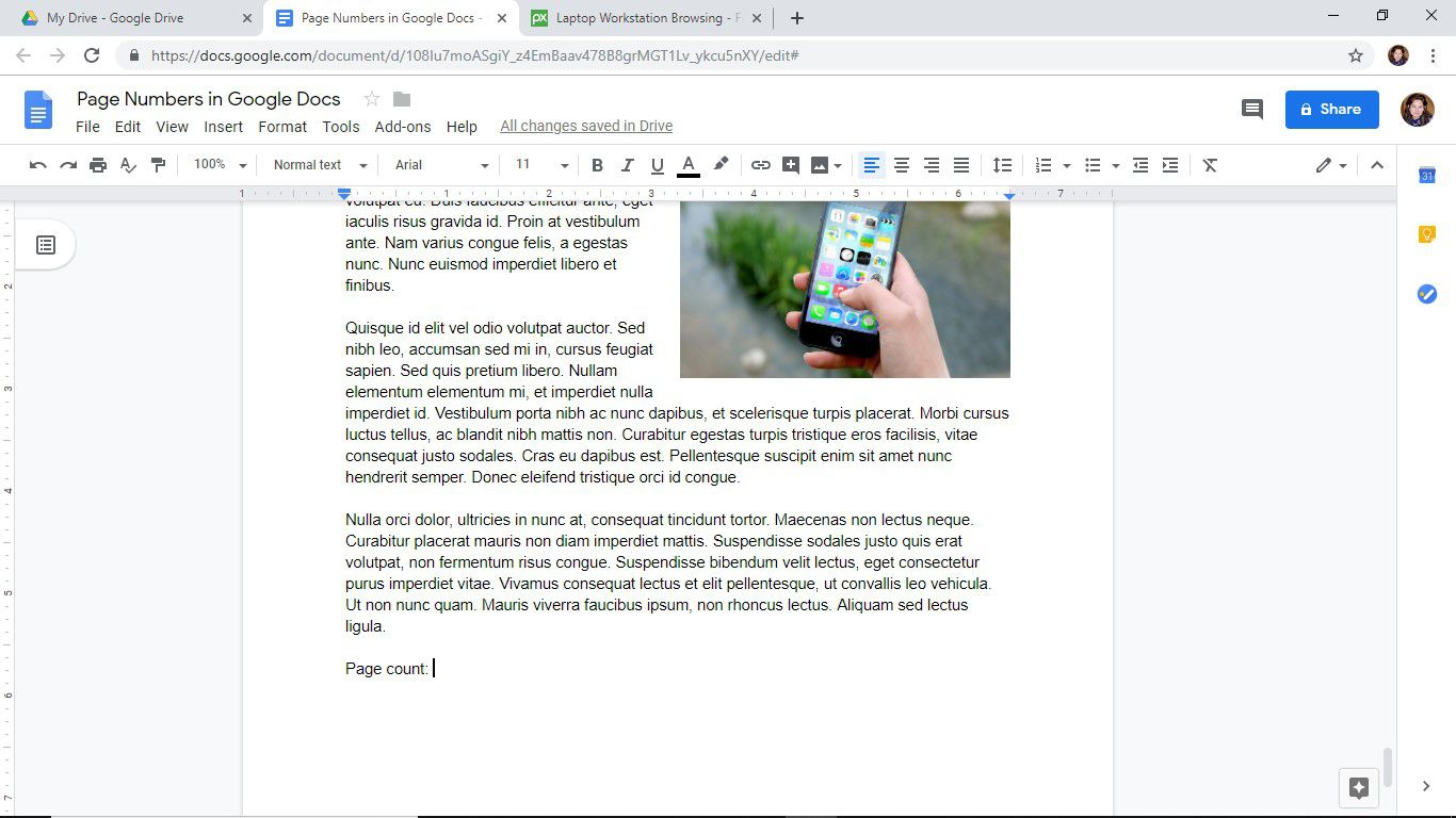 Add a page count to a Google Docs document