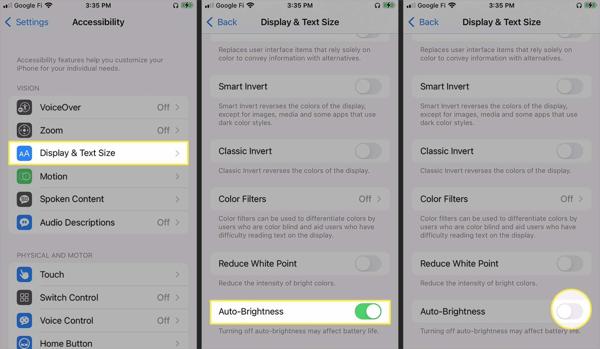 Disabling auto-brightness from Display & Text Size options in the iOS Accessibility menu.