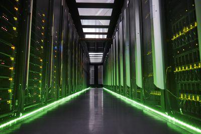 A room full of illuminated servers.
