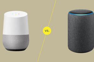 A graphic showing Google Home vs Amazon Alex/Echo