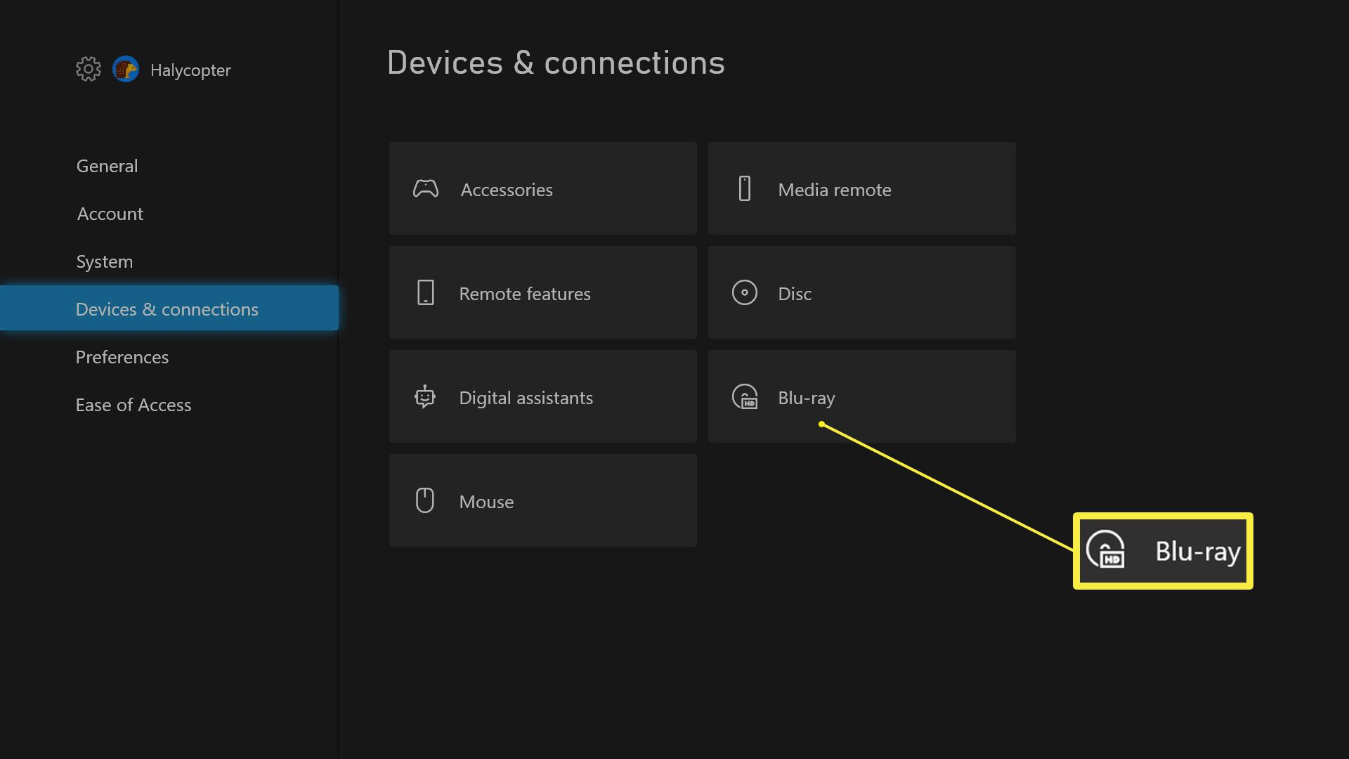 Xbox Series X Settings > Devices & Connections with Blu-Ray highlighted