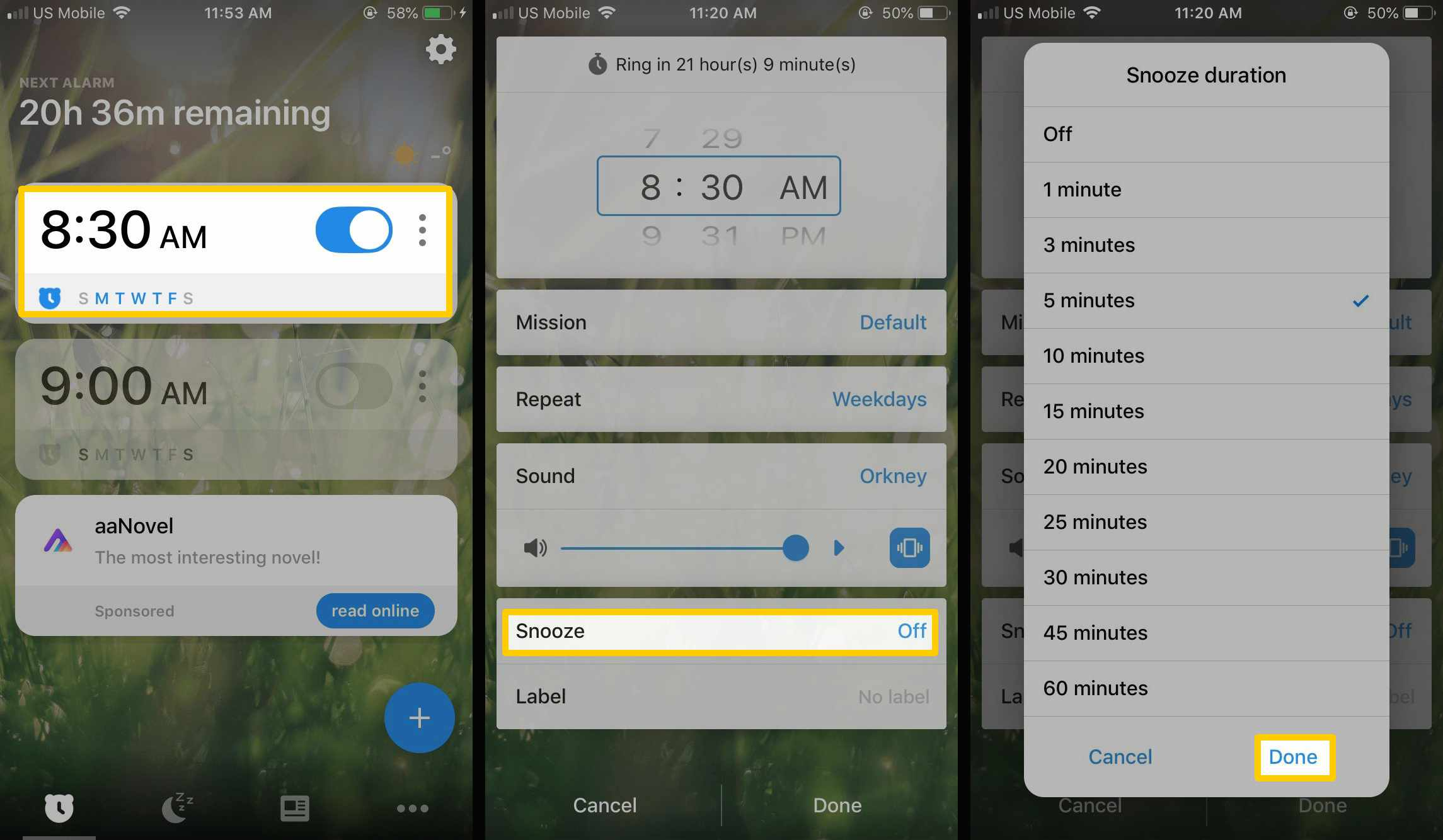 how to create a snooze on the Alarmy app.