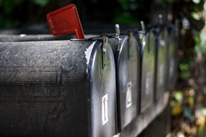 Several mailboxes in a row.