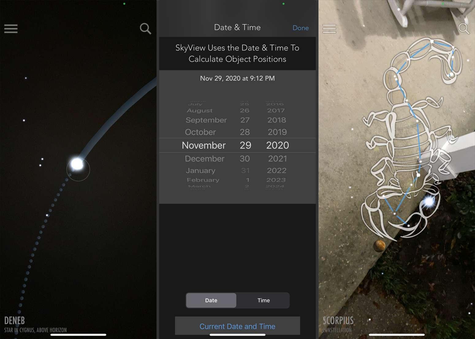 Screenshots from SkyView Lite.