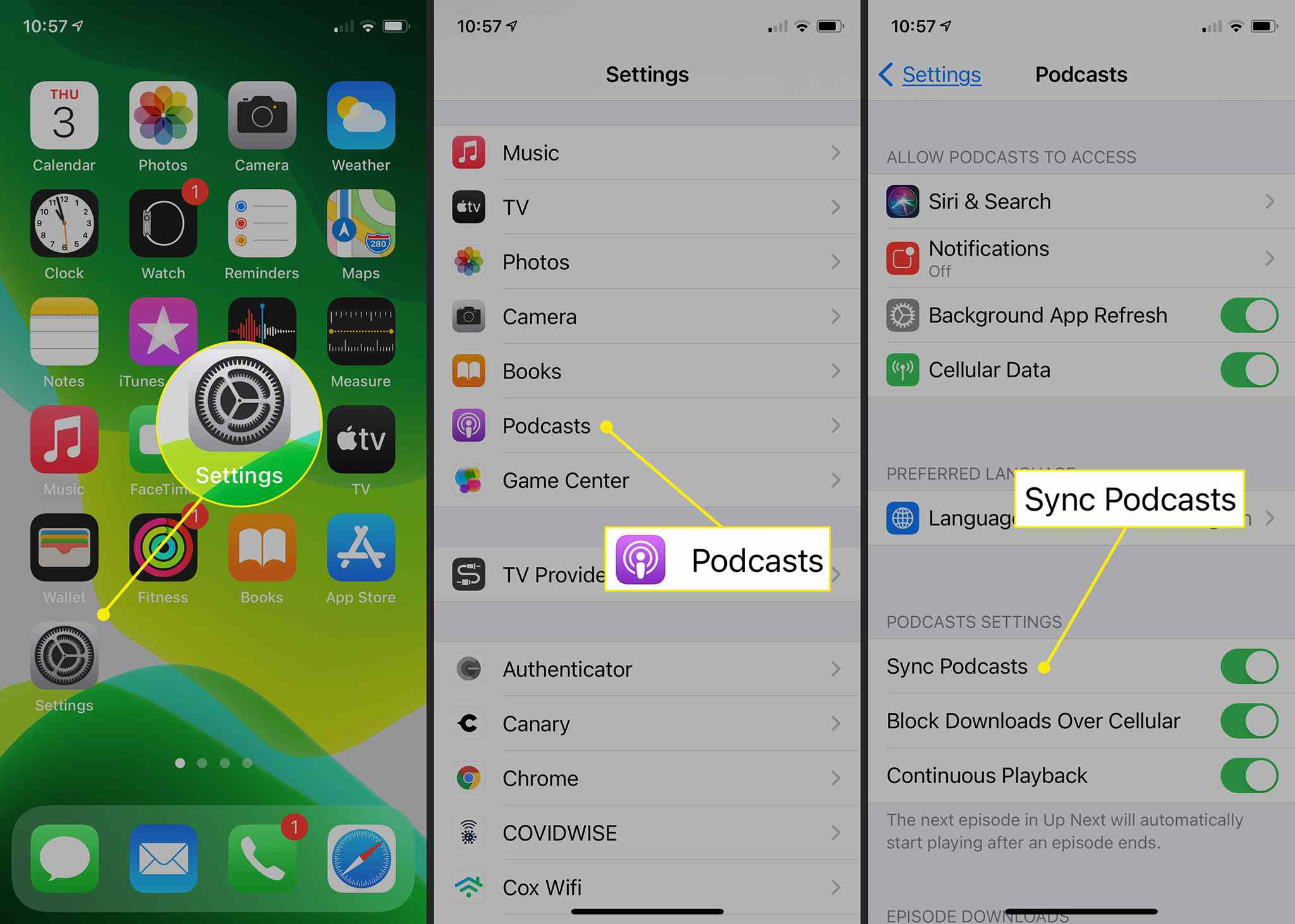 iPhone showing path to Sync Podcasts