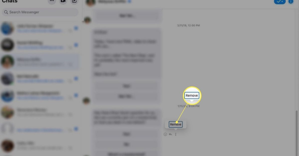 Remove button in Facebook chat
