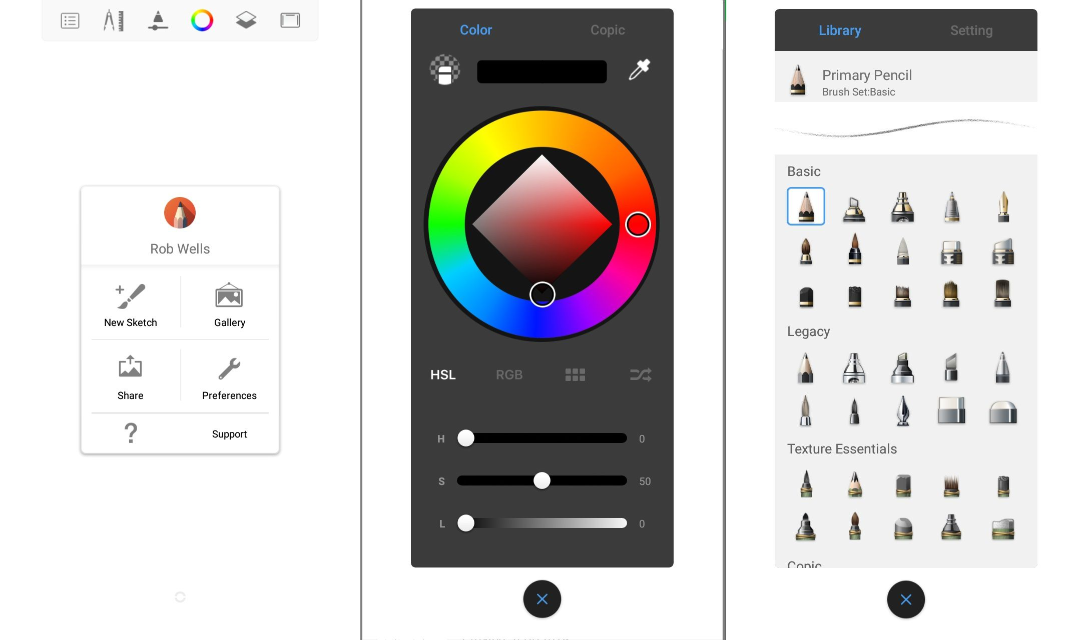 The Autodesk Sketchbook app for Android