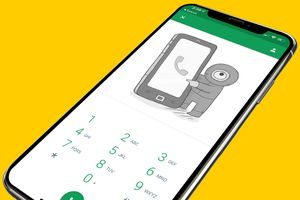 Hangouts on iPhone X screen on a yellow background depicting usage of the free calling app