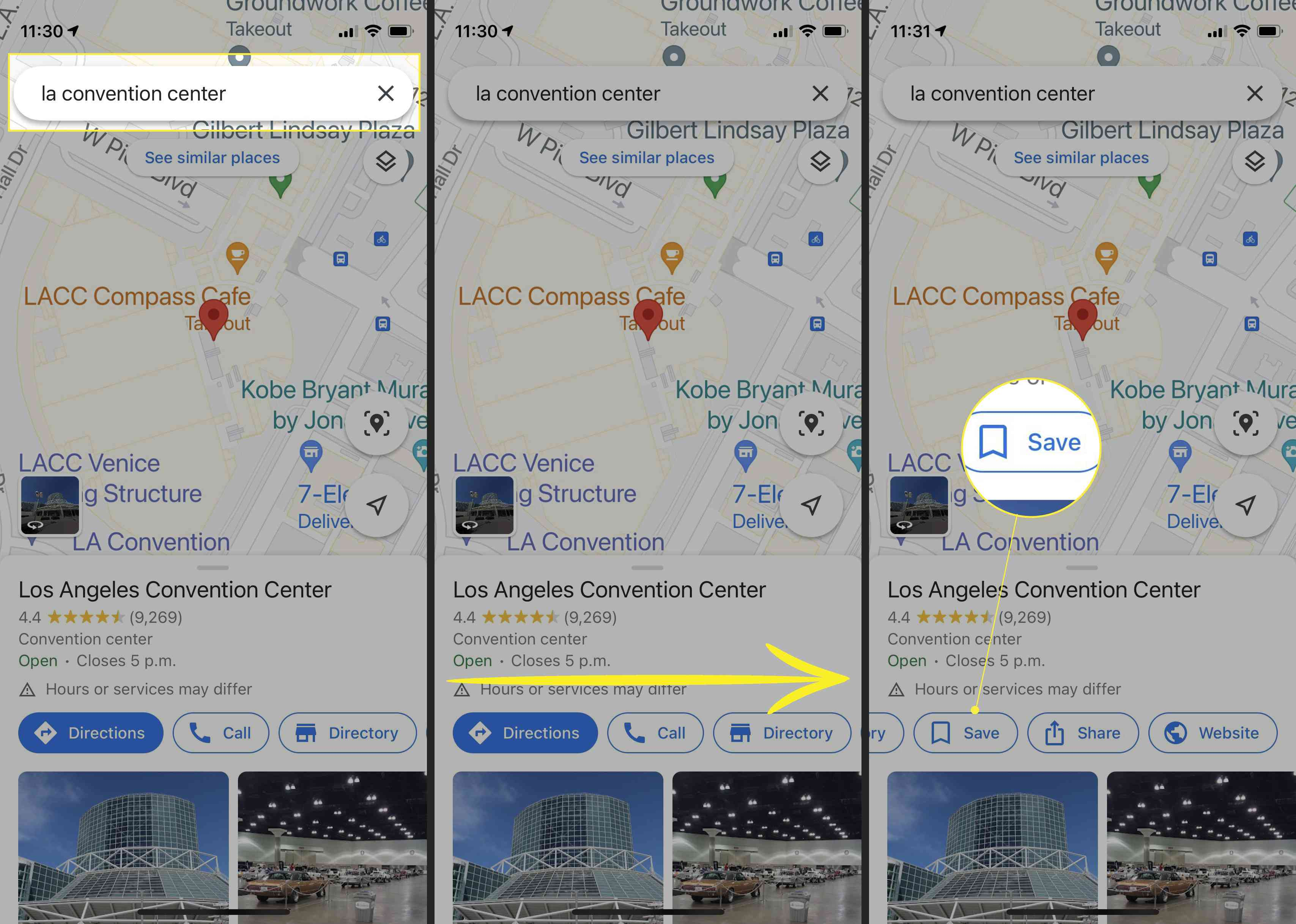 Google Maps on iPhone with location search box highlighted, arrow indicating swipe right, and Save highlighted