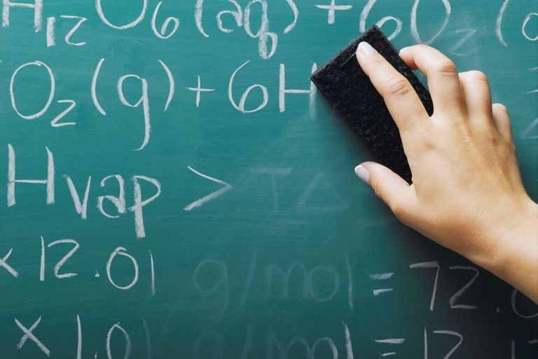 a hand erasing equations on a blackboard