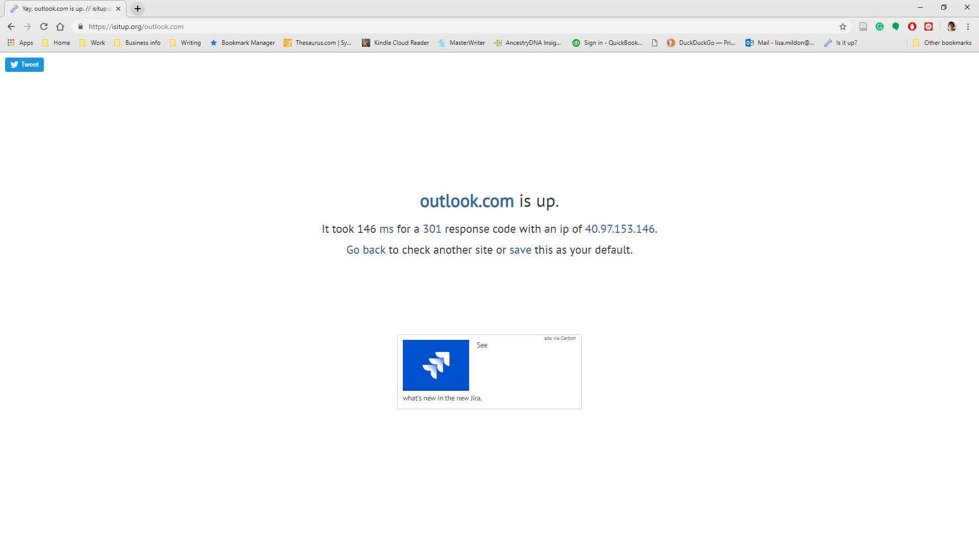 A website, Is is up, displaying Outlook.com's website status.
