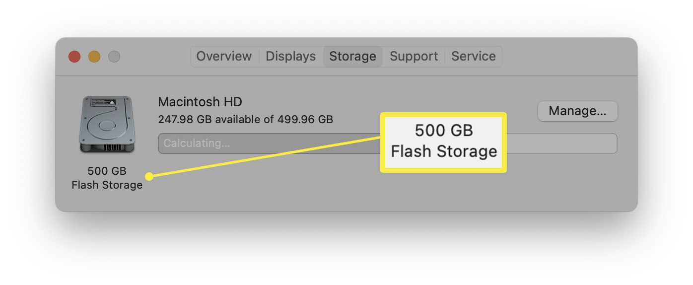 macOS with hard drive type highlighted within About This Mac