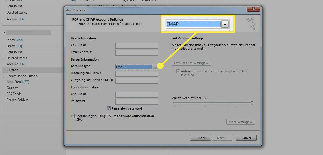 The IMAP option in Outlook account setup