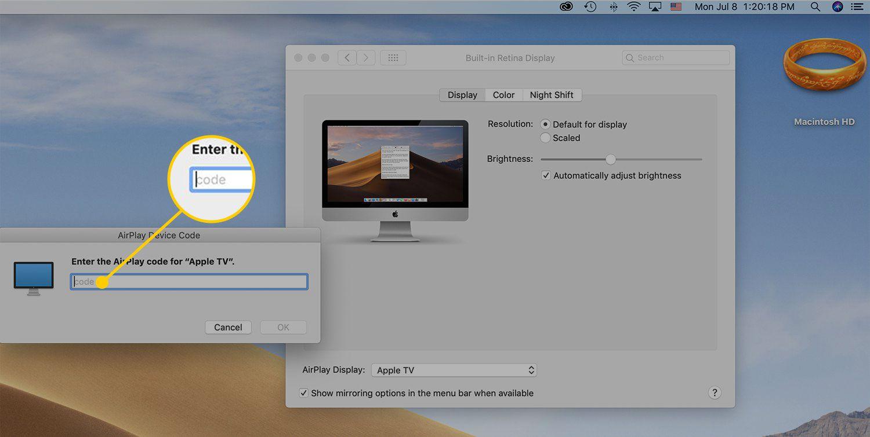 AirPlay code field in macOS
