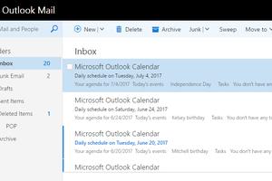Screenshot of emails in the Outlook.com inbox folder