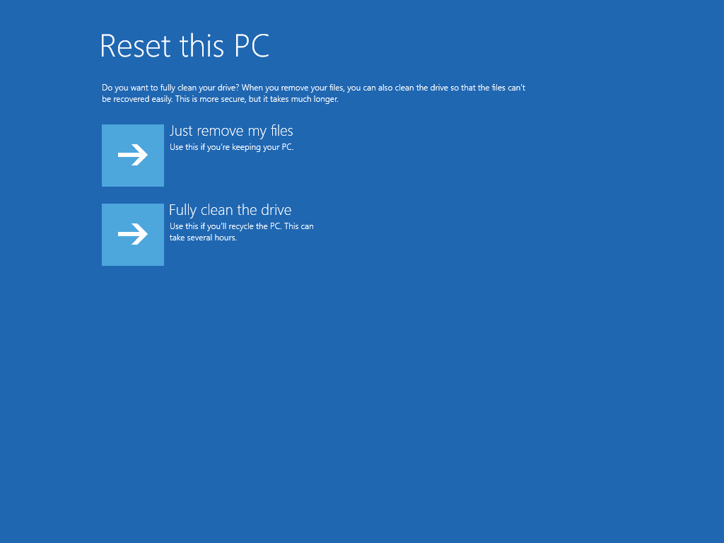 Reset This PC Normal vs Wipe Option in Windows 10
