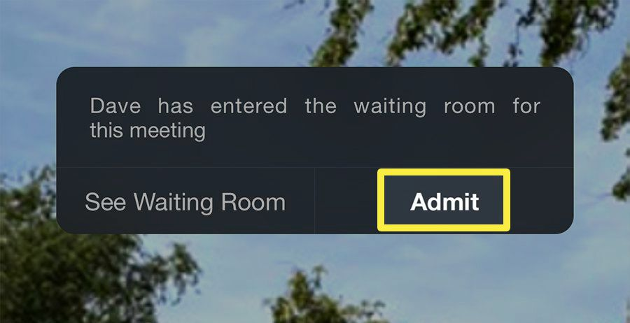 Screenshot of the waiting Room message on a Zoom meeting on iPhone.