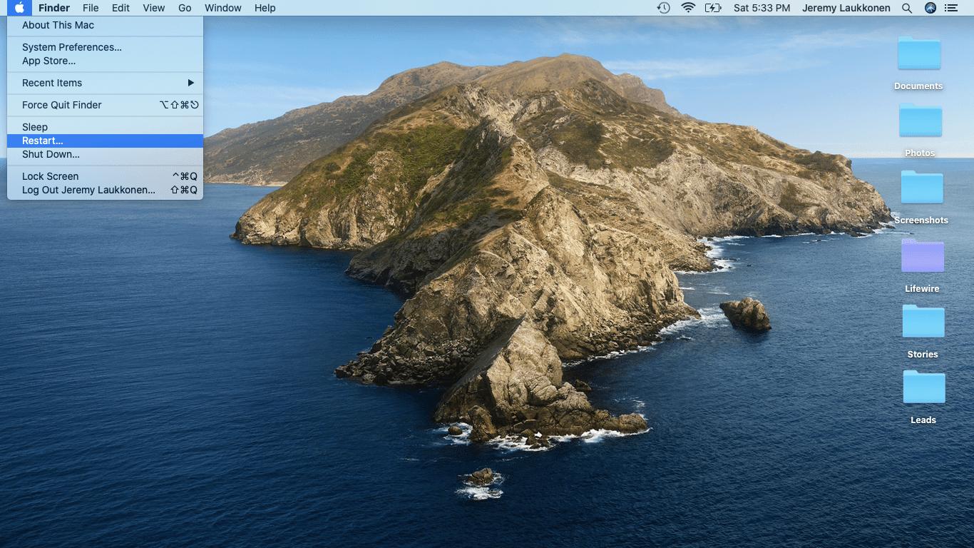 A screenshot of the restart option in macOS.