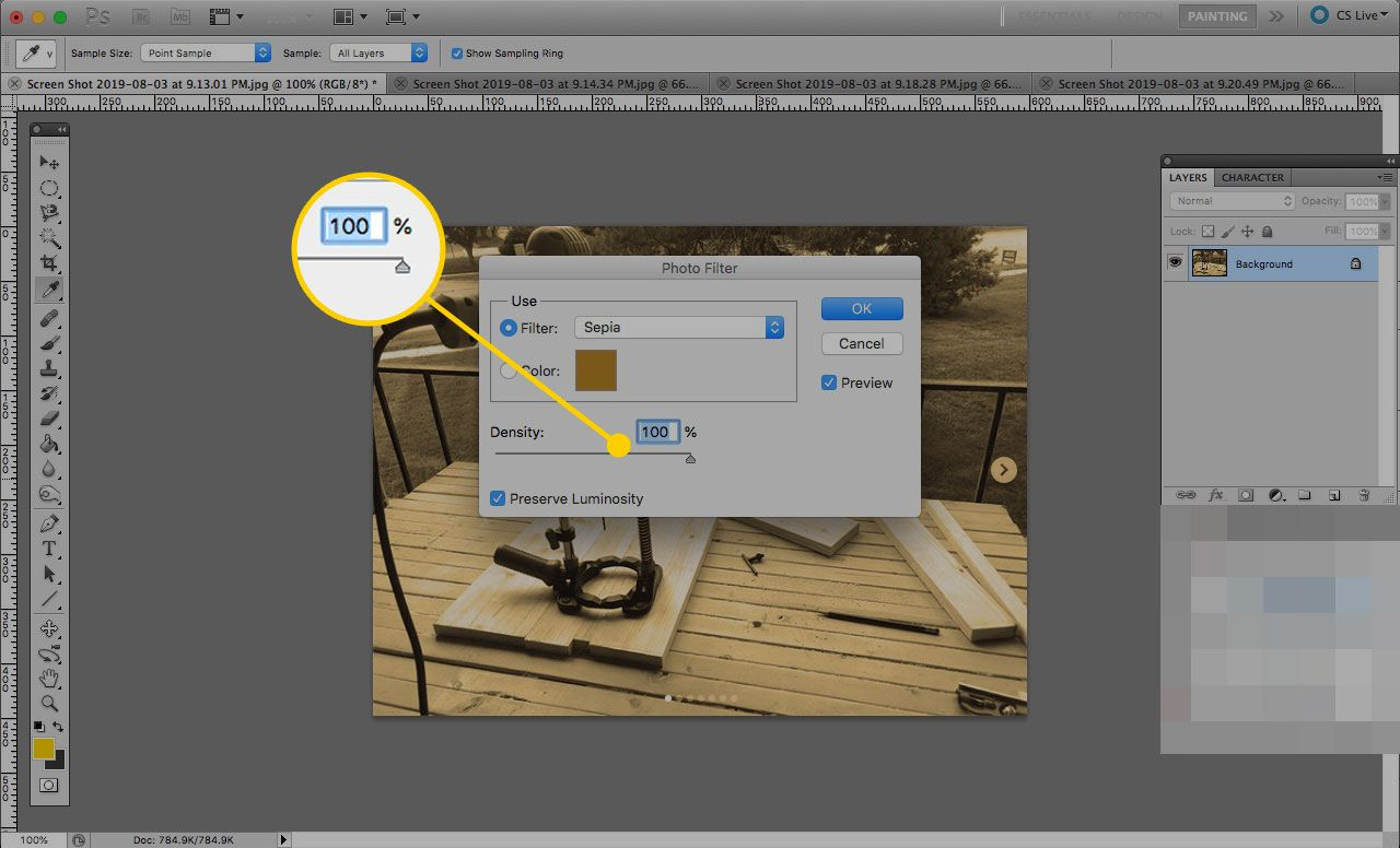 Density settings in Photo Filter in Photoshop