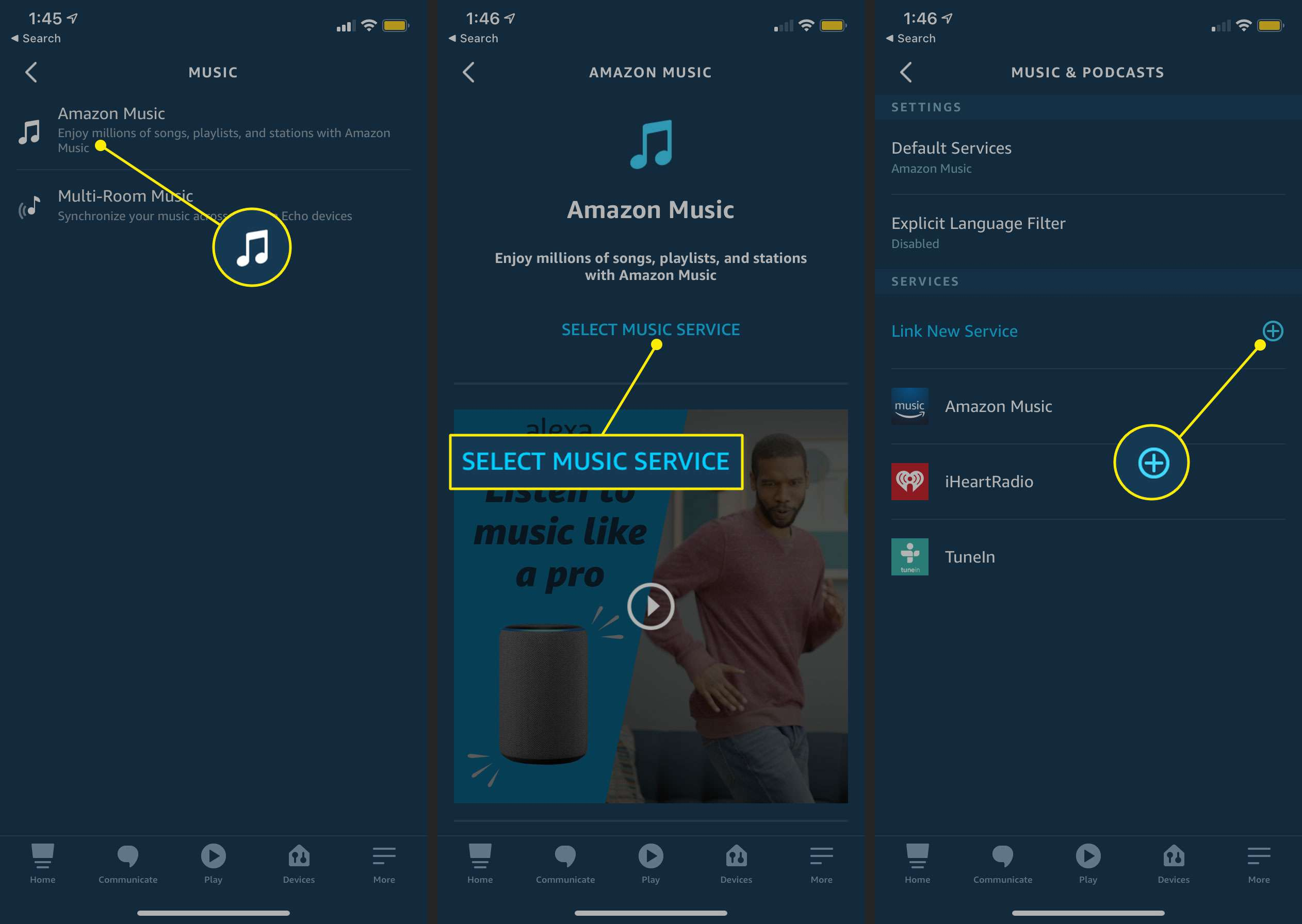 Linking a music service in the Alexa app for iOS