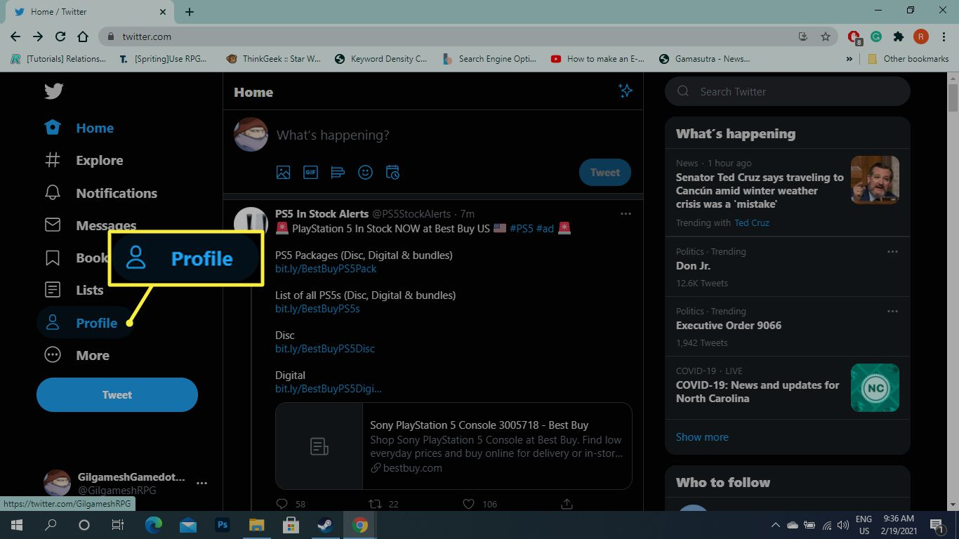Profile on Twitter main page