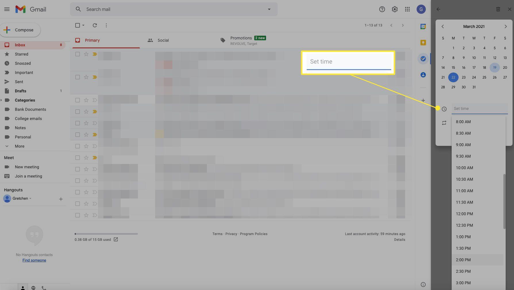 Gmail task window with