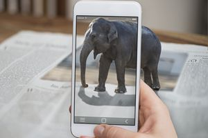 Cellphone displaying elephant coming out of phone