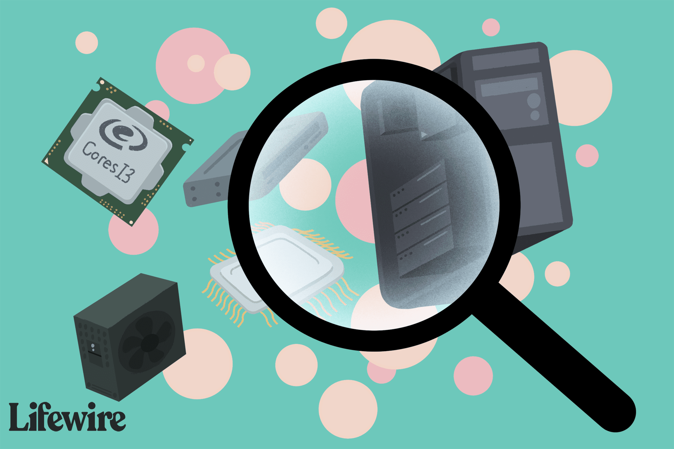 Magnifying glass imposed on computers and technical components