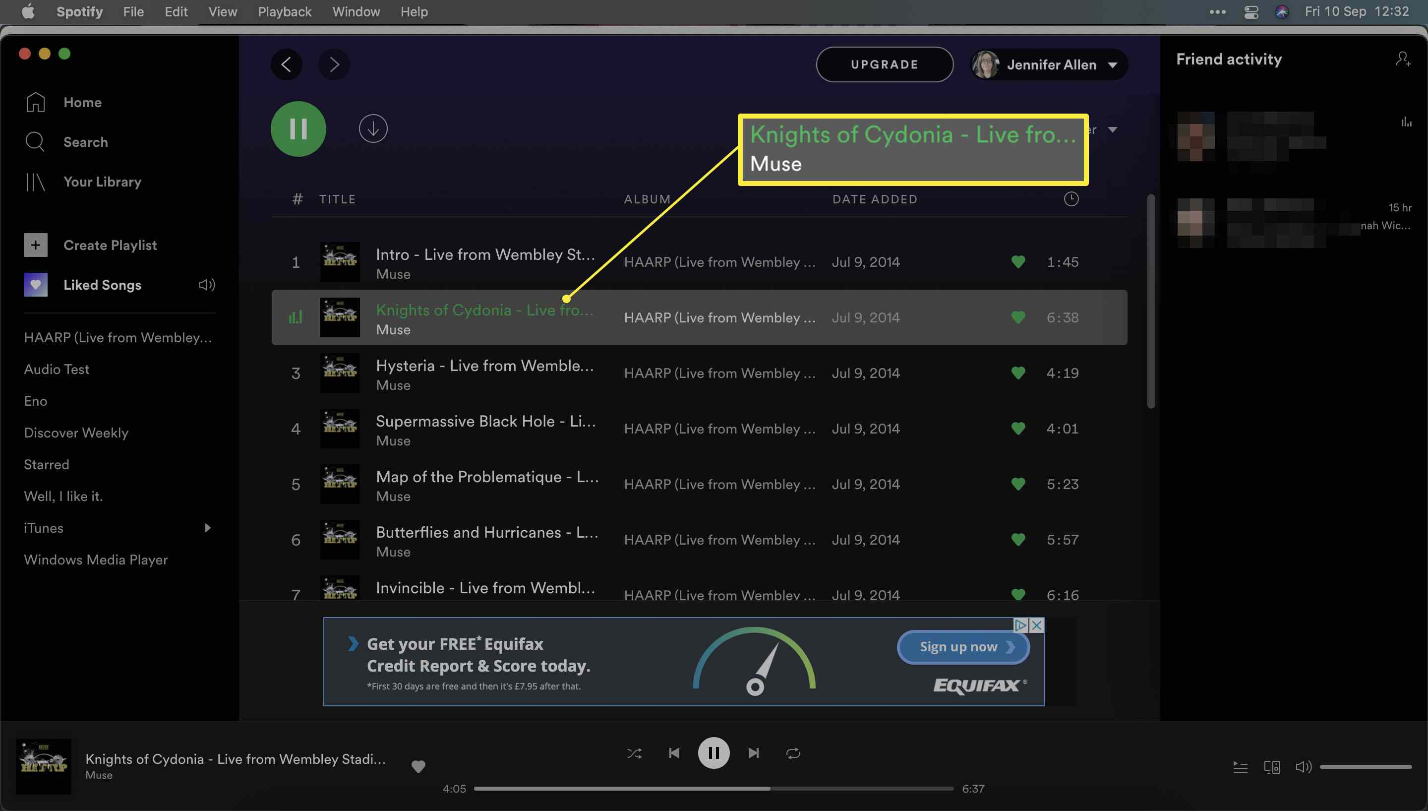 Spotify with a song highlighted