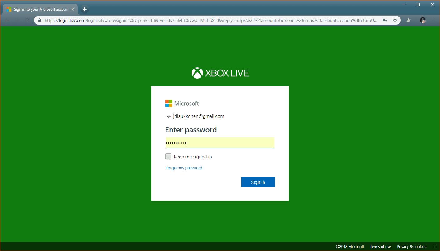 forgot password microsoft xbox