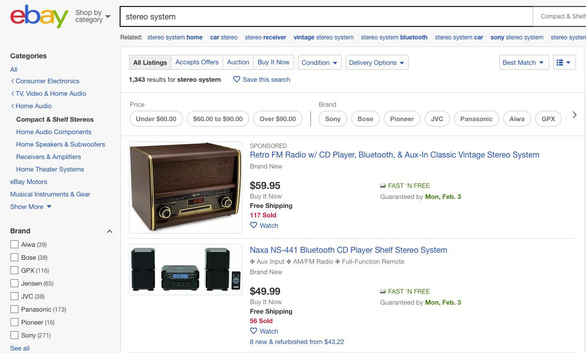 eBay stereo online sales