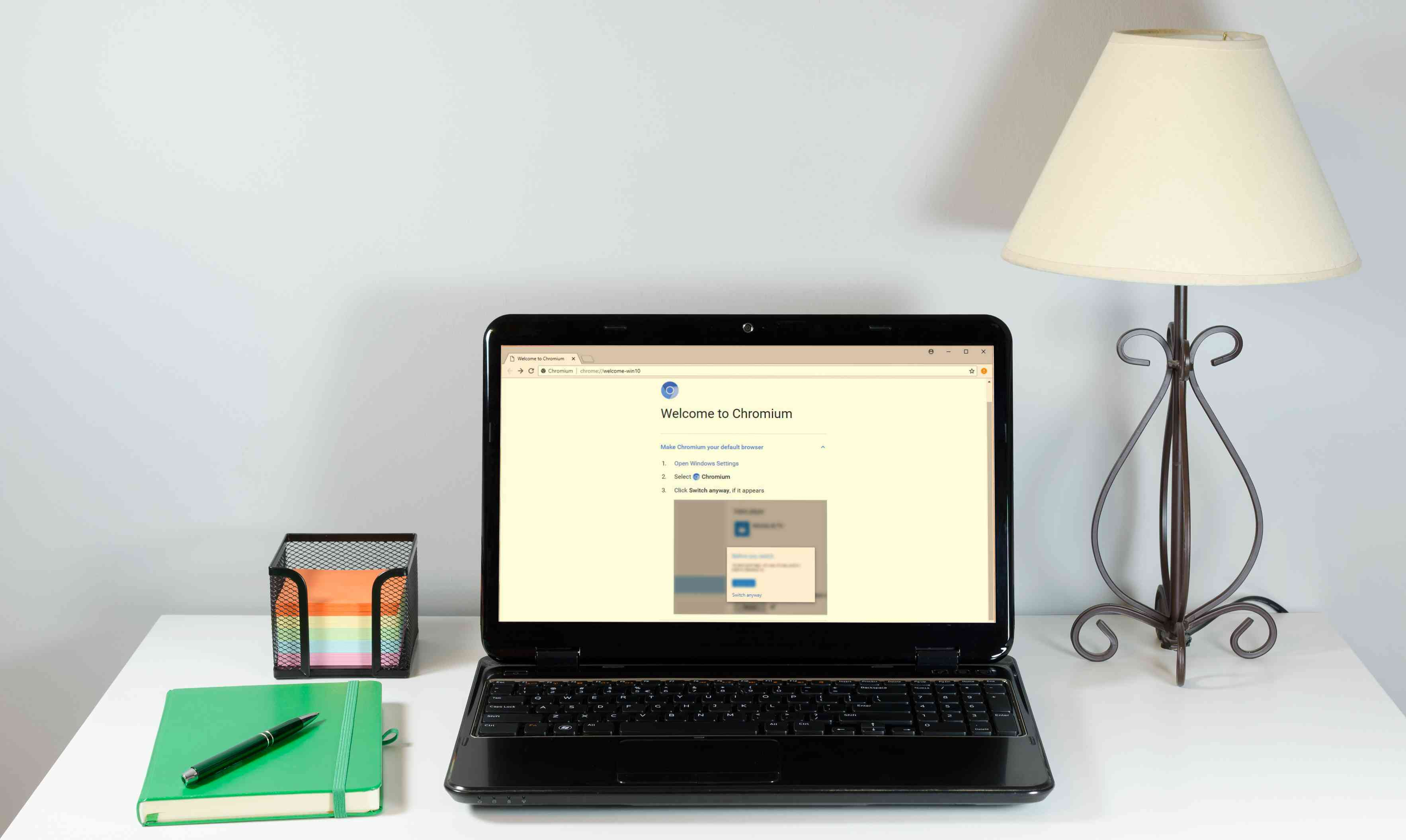 Chromium web browser on a laptop