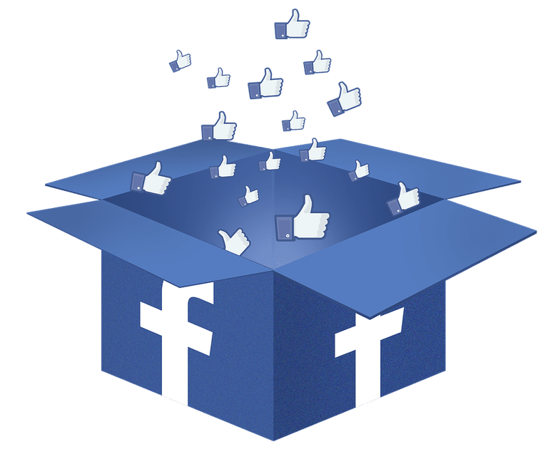 Thumbs up coming out of facebook box