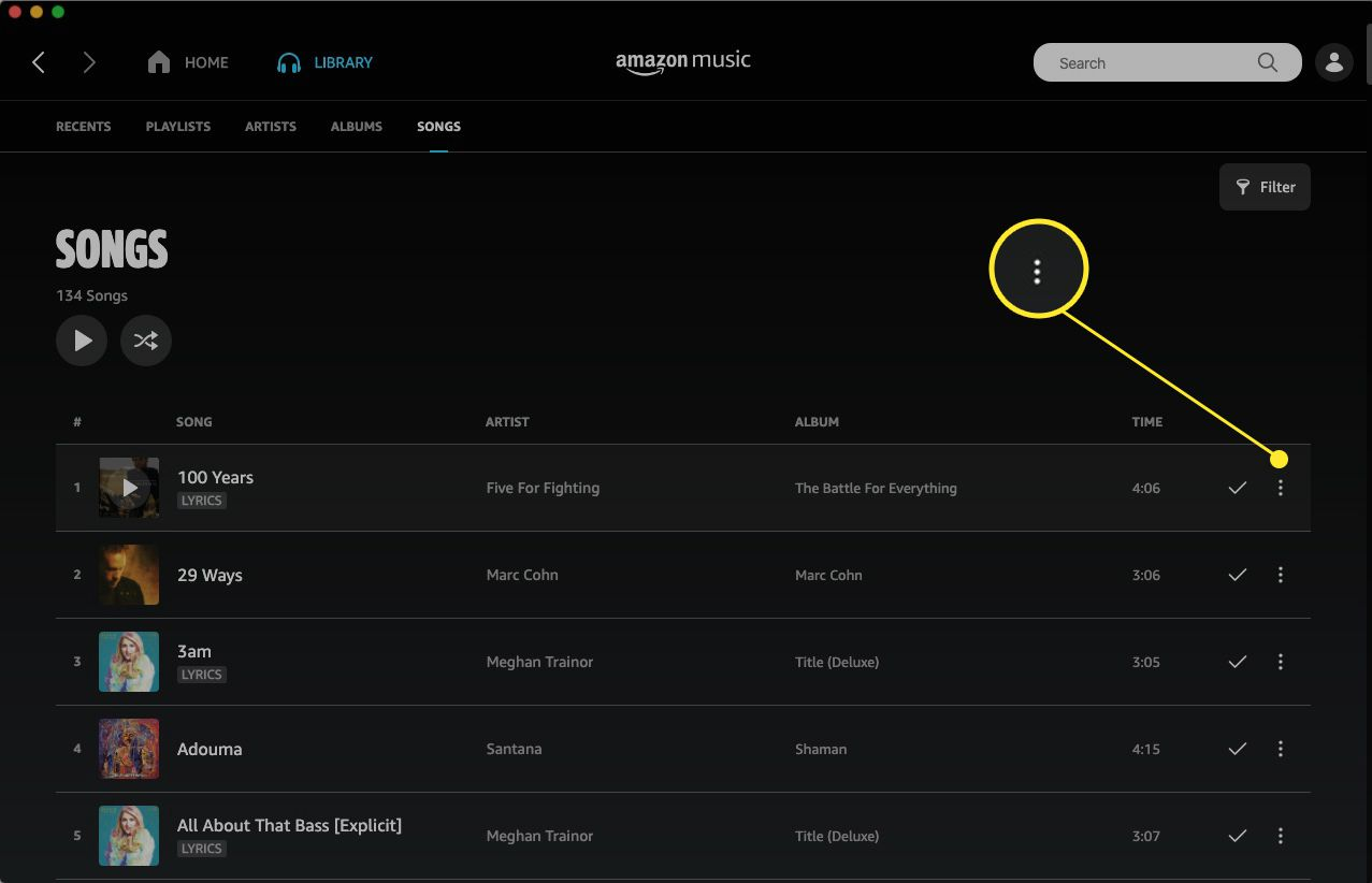 Amazon Music web app with More Options (three dots) highlighted
