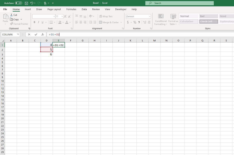 Screenshot of formula in E1