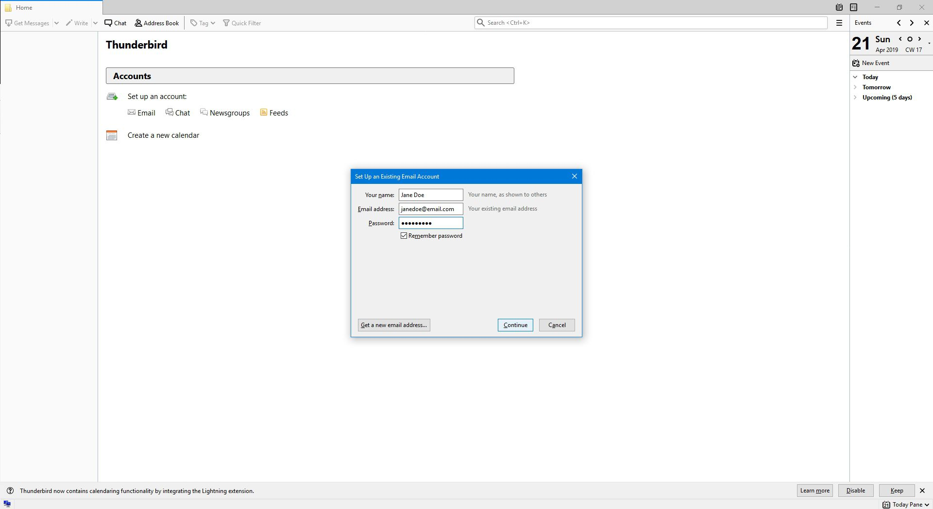 Entering in email details for a new account setup in Thunderbird.