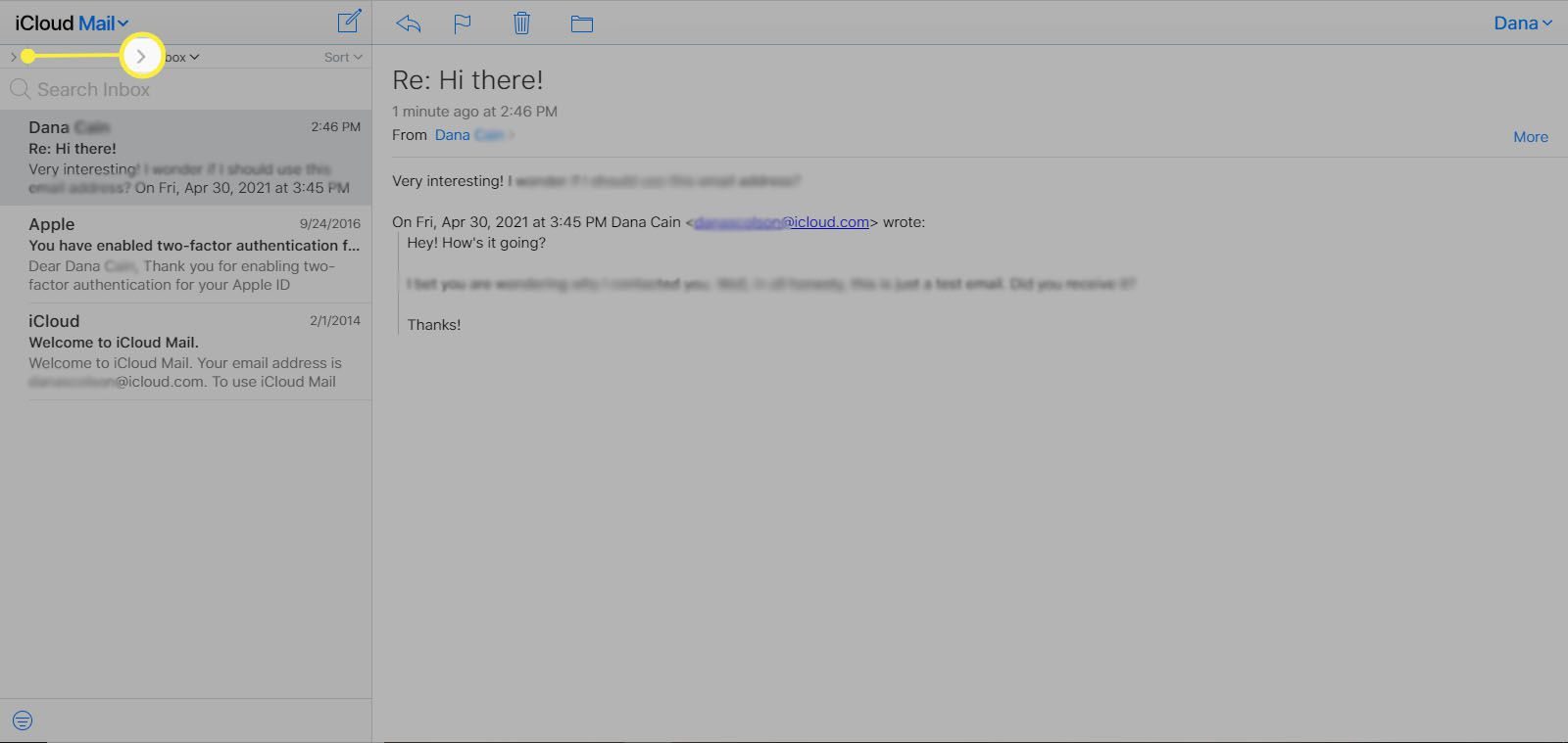 Selecting the right arrow in the upper-left corner of iCloud Mail