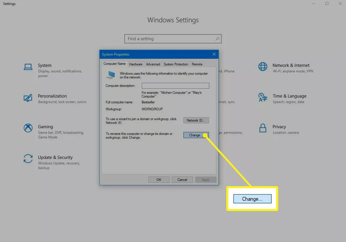 Change button in System Properties of Windows 10
