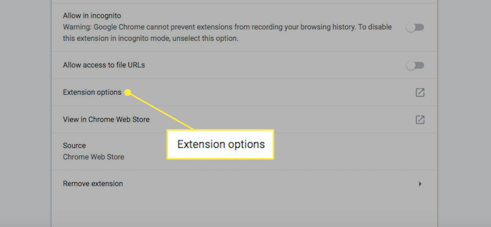 Extension options in Chrome
