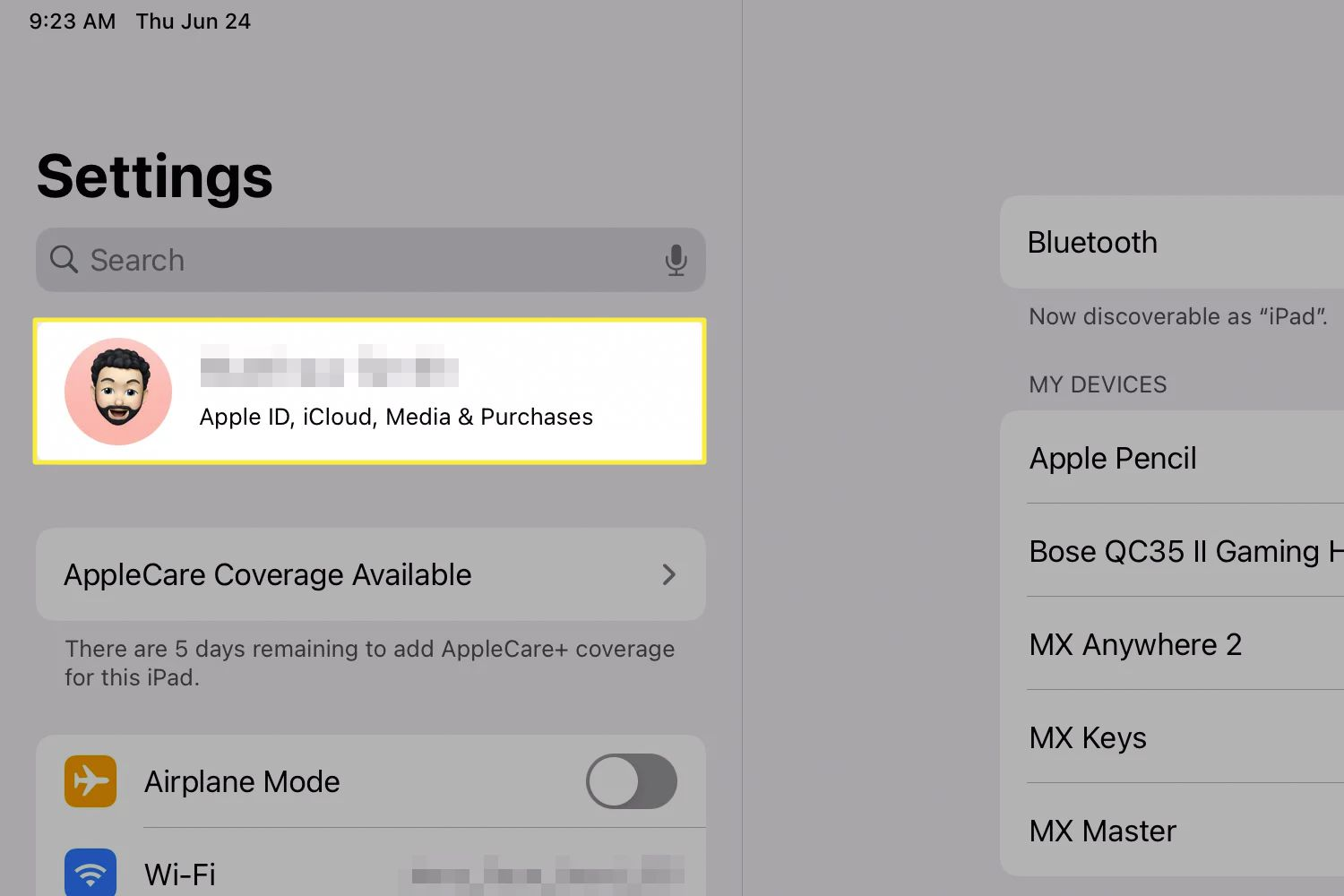 The iPadOS Settings app with the Apple ID option highlighted.