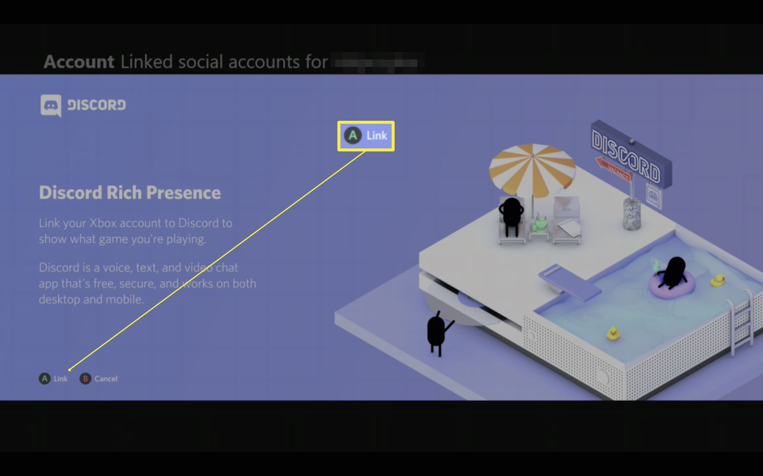 Xbox One Linked social accounts page with Discord setup highlighted